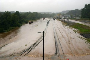 Flooded roads and railroad tracks