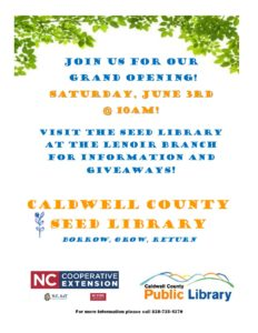 Cover photo for Caldwell Seed Library Opening Saturday, June 3