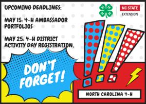 Cover photo for Upcoming Deadlines:  Ambassador Portfolios & District 4-H Presentations
