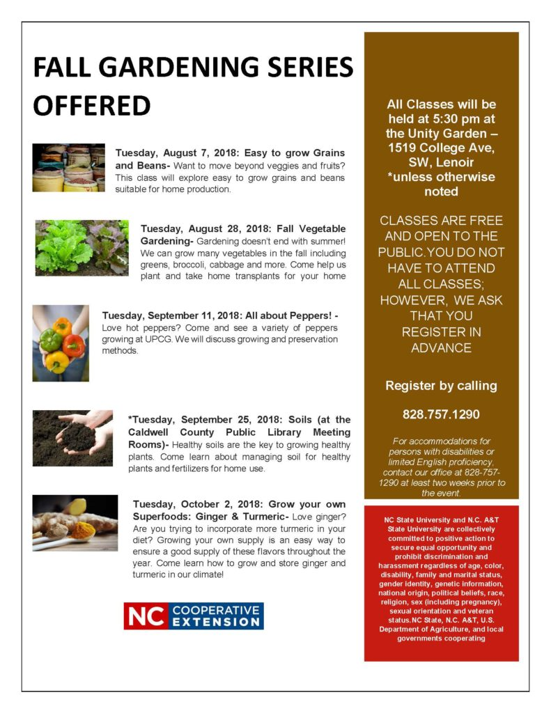 2018 Fall Gardening Series Offered North Carolina Cooperative Extension