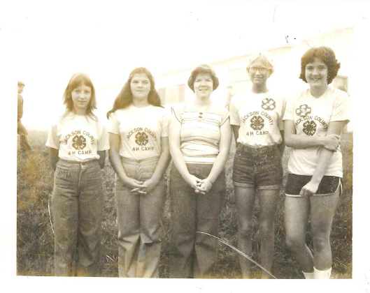 Participants of the 1978 Exchange group to Jackson County, West Virginia pose for a photograph. Four of the subjects are Wilma Byrd, Jane Greeson, Penny Walker and Maleah Jett.