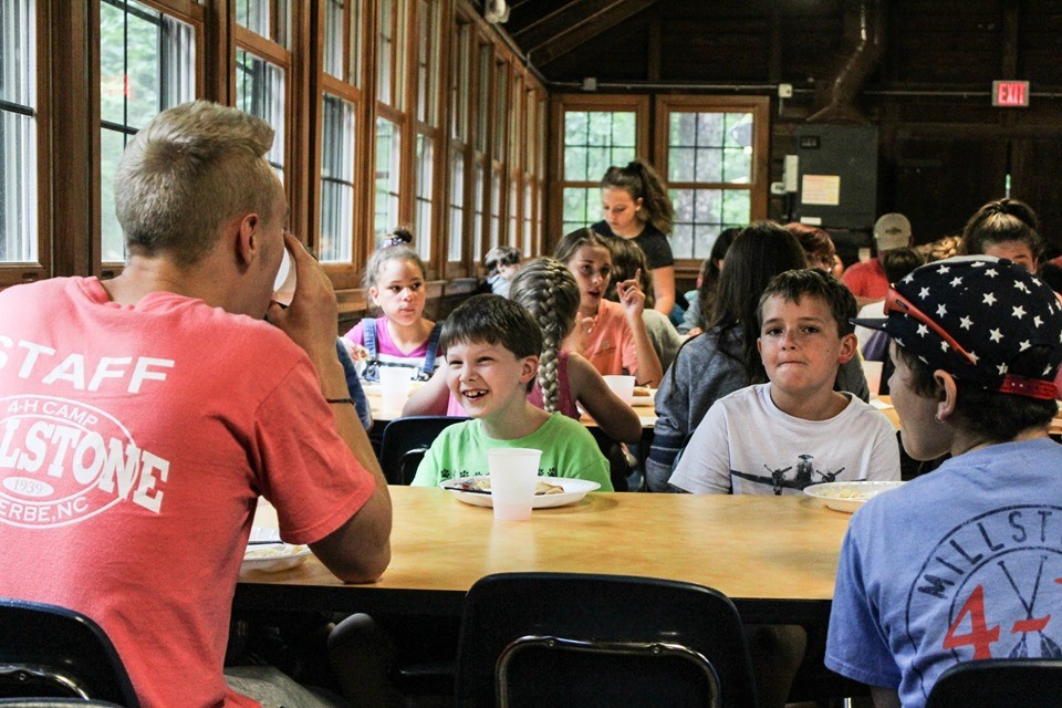 Kids in the dining hall at Millstone 4-H Camp