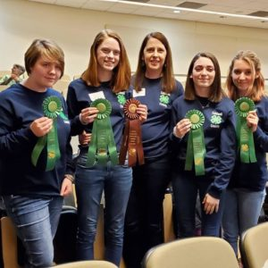 Horse bowl team and coach from the 2020 state competition