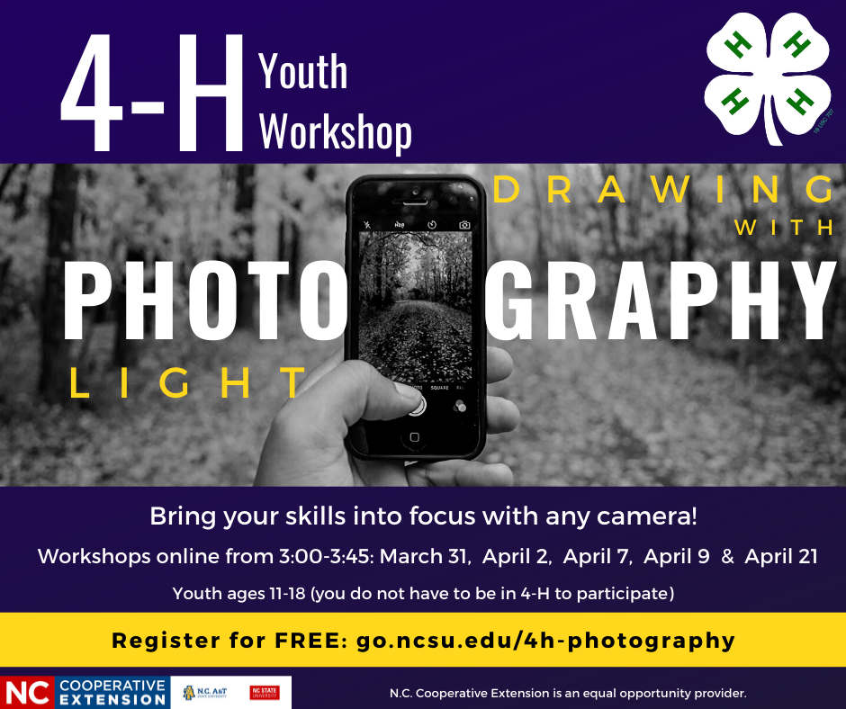 Register for the 4-H photography workshop, which will be on select Tuesdays and Thursdays at 3 p.m.