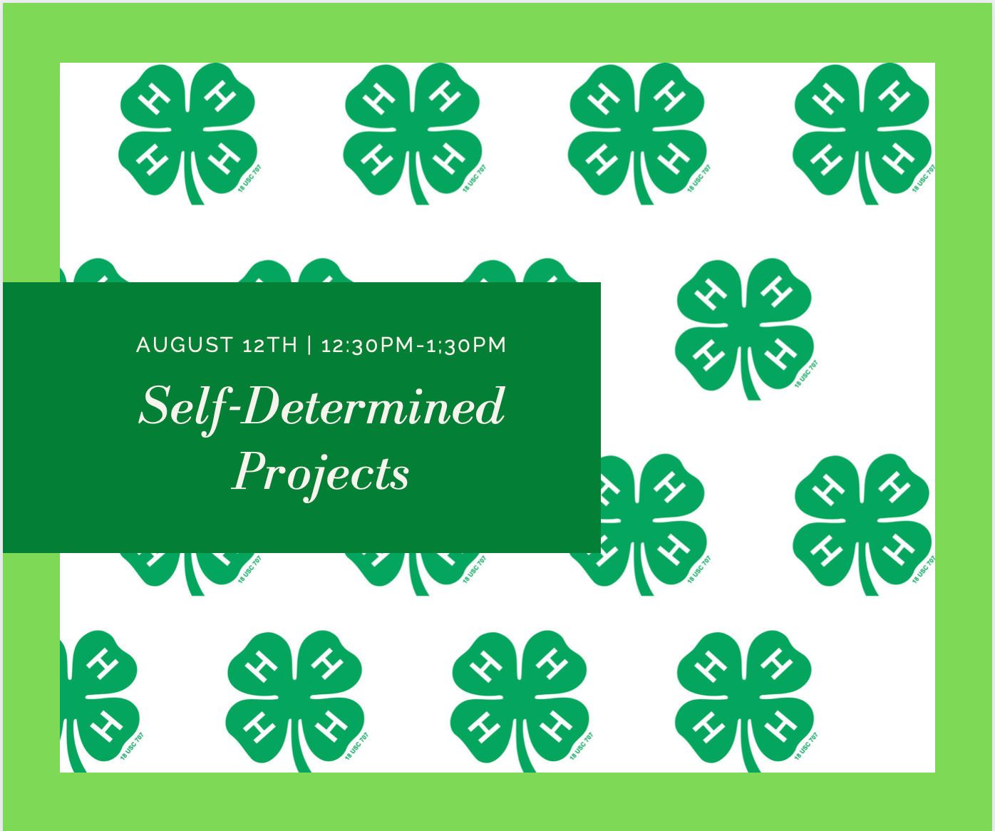 self determined projects august 12th 12:30-1:30 p.m. in front of clovers