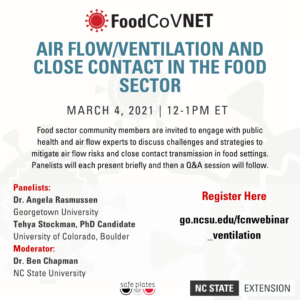 Cover photo for FoodCoVNET Webinar Series: Air Flow, Ventilation, and Close Contact