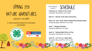 Cover photo for NC 4-H Camps' Spring 2021 Nature Adventures