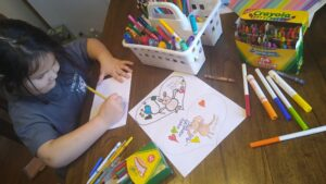 girl coloring cards