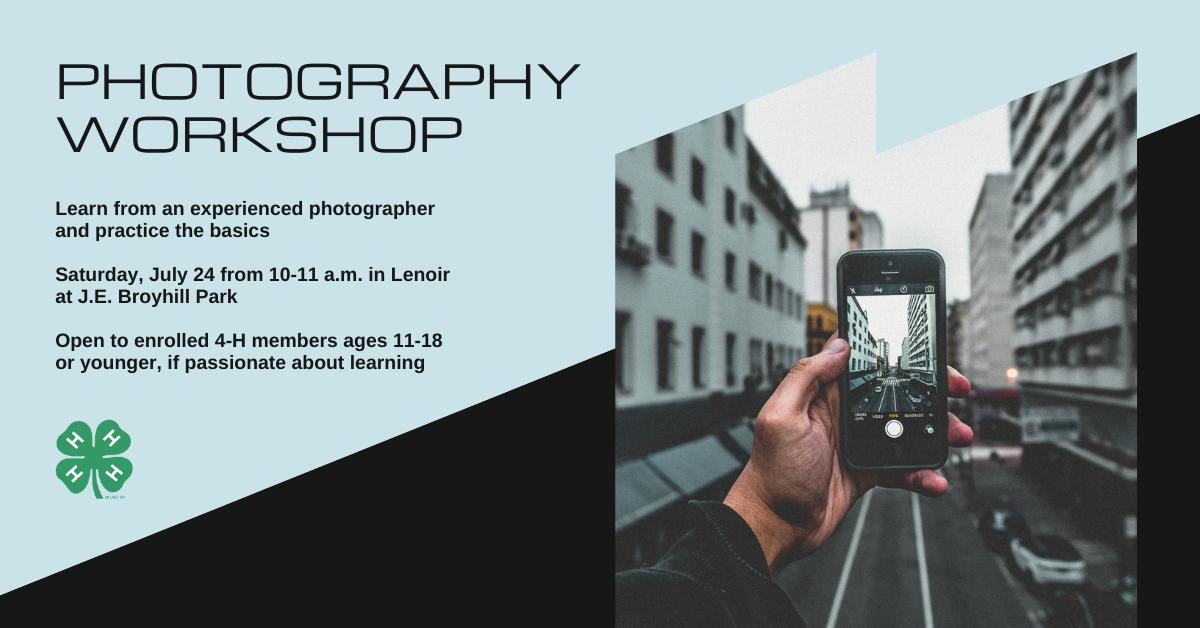Photography workshop on July 24