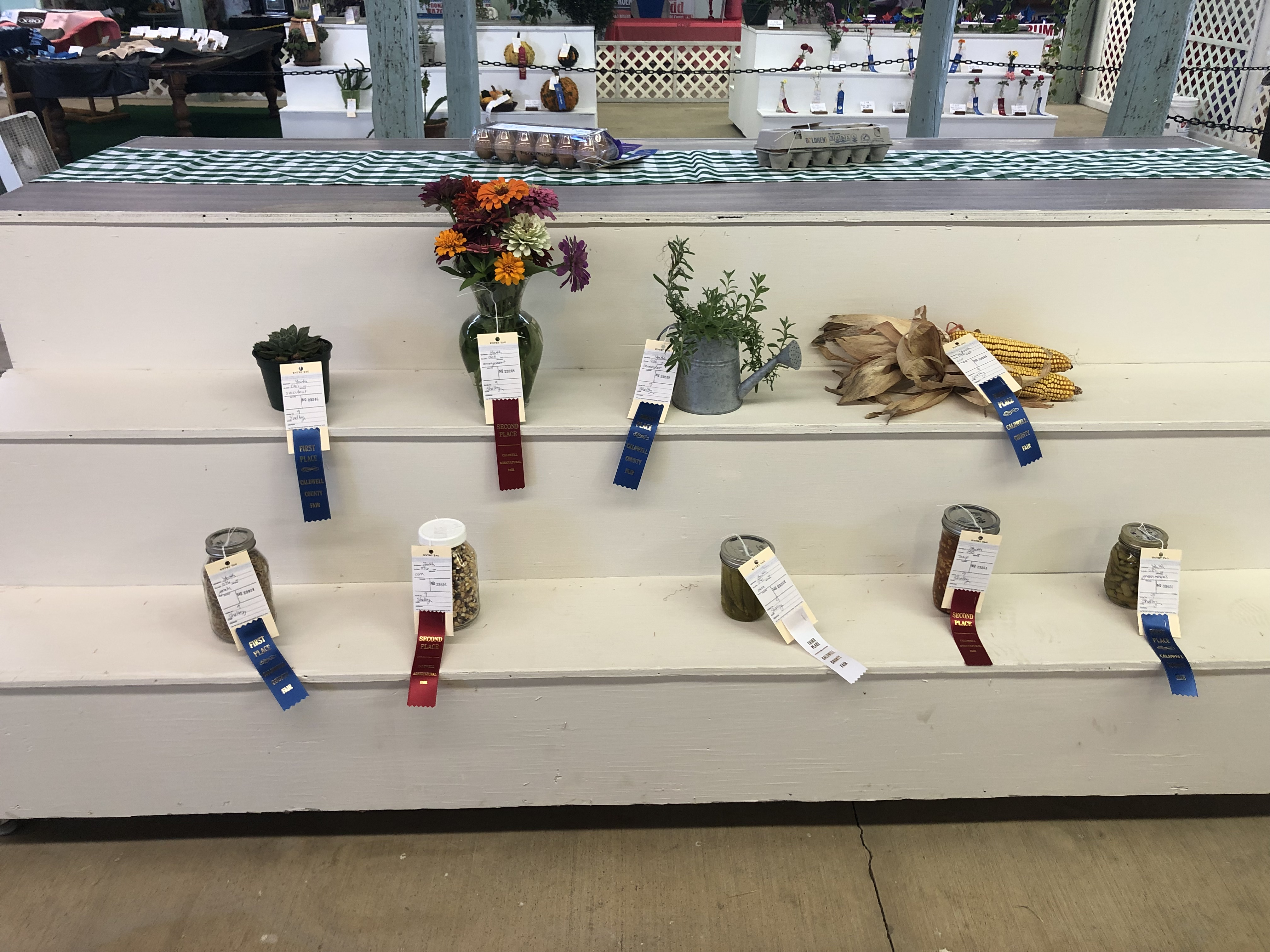 Agriculture goods and food preservation exhibits were entered by youth in Caldwell County.