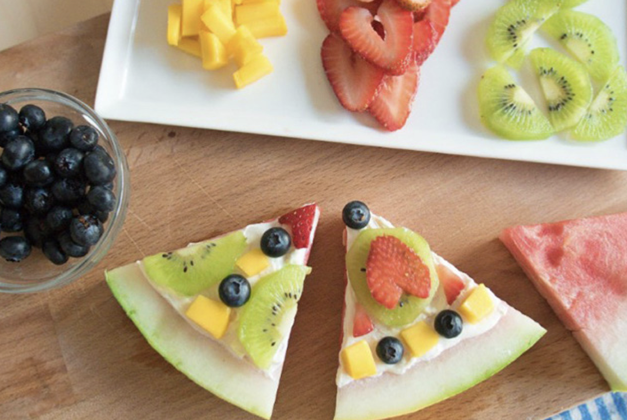 (Photo courtesy of National 4-H Council): Top watermelon slices with a spoonful of melted chocolate and smaller pieces of fruit to create a nutritious, kid-friendly treat.